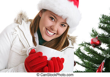 Woman at Christmas with Coffee
