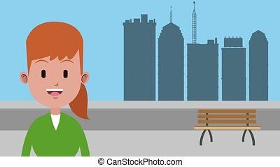 Woman at city HD animation - Happy young woman over...
