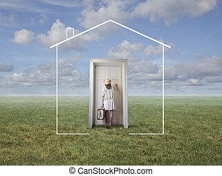 Woman at drawn house