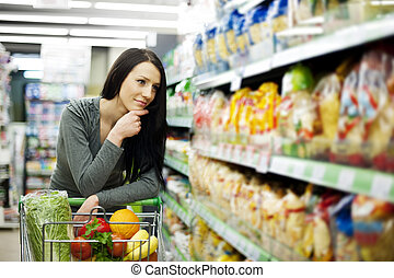 Woman at groceries store