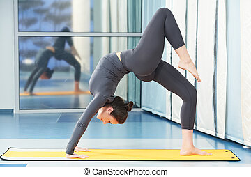 woman at gymnastic fitness exercise