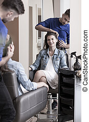 Woman at hair salon