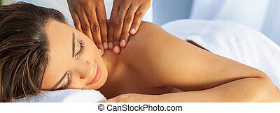 Woman At Health Spa Having Relaxing Outdoor Massage Panorama