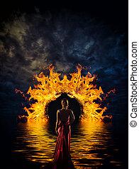 Woman at hell's door