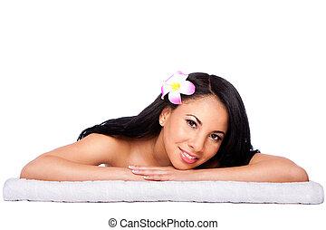 Woman at holiday spa