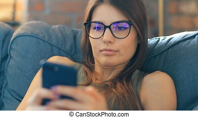 Woman at home - Lifestyle and recreation. Girl at home