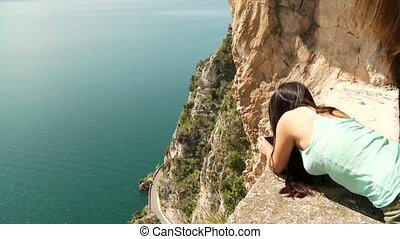 Woman At Lake Garda, Italy - woman at the lake garda in...