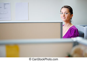 Woman at office in casual clothes