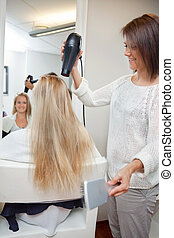 Woman At Parlor - Pretty beautician blow drying female's ...