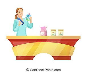 Woman at Pet Shop Buying Food Vector Illustration