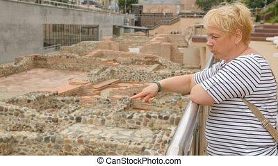 Woman at ruins of Serdica in Sofia