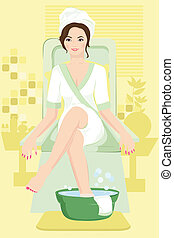 Woman at spa - A vector illustration of a woman receiving a...