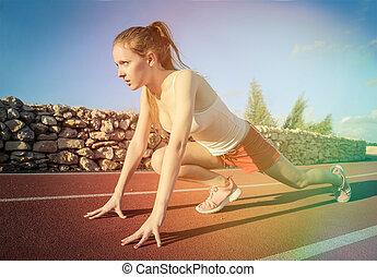 Woman at start lane