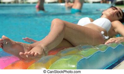 Woman at Summer Resort - Slim Bikini Female Lying by...