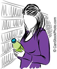 woman at supermarket illustration