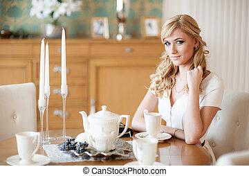 woman at tea party