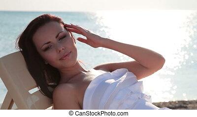 woman at the beach enjoying