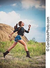 woman at the hay