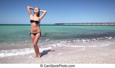 Woman at the sea shore