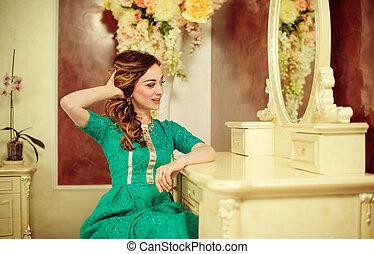 woman at vintage bedroom