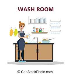 Woman at wash room.