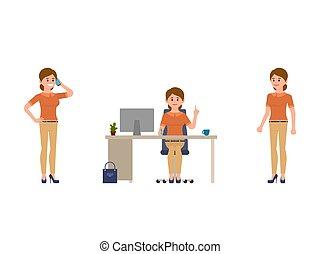Woman at work cartoon character