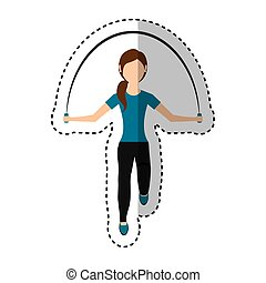 woman athlete avatar character jump rope