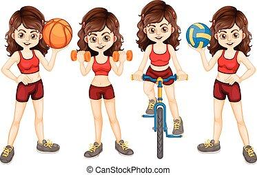 Woman athlete doing different sports illustration