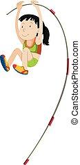 Woman athlete doing pole vault