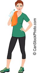 Woman athlete in training clothes with a bottle of water in hand Stock vector illustration.eps