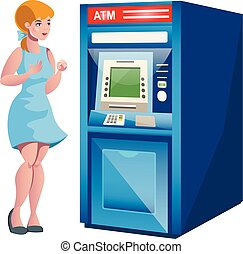 Woman atm money credit isolated vector illustration