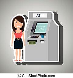 woman atm money credit vector illustration eps 10