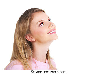 Woman - Attractive young smiling woman . Over white...