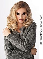woman, aussieht, fotoapperat, posierend, blond, studio, sinnlich