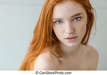 woman, aussieht, fotoapperat, rothaarige