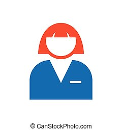 woman avatar Flat icon and Logo  blue, orange