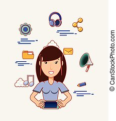 woman avatar with smartphone social media icons