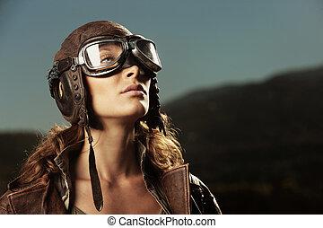 Woman aviator: fashion model portrait - Portrait of young...