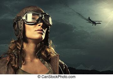 Woman aviator: fashion model portrait - Portrait of young ...