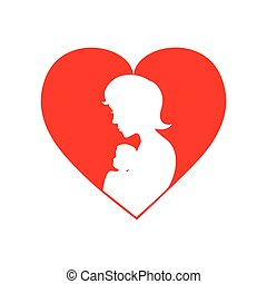 Woman baby mother heart icon. Vector graphic