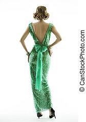 Woman back in retro fashion sequin dress, elegant vintage style