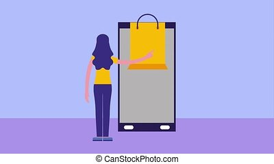 woman back view smartphone shopping bag online