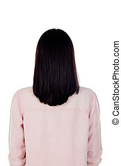 Woman back with a beautiful mane of black hair