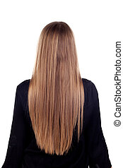 Woman back with beauty long blonde hair