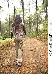 woman backwards on brown path - green forest at gredos...