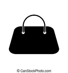 Woman bag black color icon .