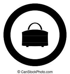Woman bag icon black color in circle