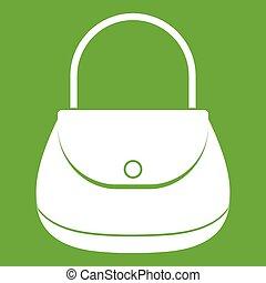 Woman bag icon green