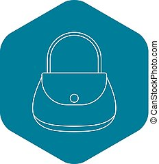Woman bag icon, outline style