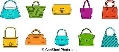 Woman bag icon set, color outline style